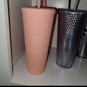 Matte pink studded Starbucks tumbler